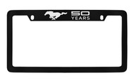 Mustang 50th Anniversary-50 Years with Single Pony-Top Engraved Black Coated Brass License Plate Frame with Cool Gray Epoxy