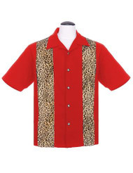 Steady Leopard Panel Button Up - Red