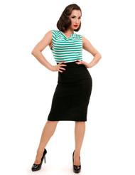 Steady Sally Wiggle Dress - Black/Mint