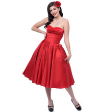 Unique Vintage Charade Swing Dress - Red