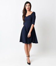 Unique Vintage Grace Swing Dress - Navy