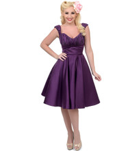 Unique Vintage Jayne Swing Dress - Eggplant