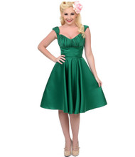 Unique Vintage Jayne Swing Dress - Green