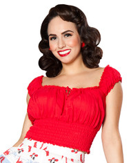 Bettie Page La Fiesta Top - Red
