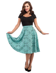 Steady Pinup State Thrills Skirt - Aqua