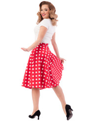 Steady Retro Dot Thrills Skirt - Red