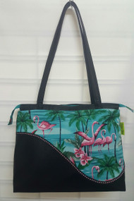 Vintage Chics Claire Bag - Aqua Flamingoes