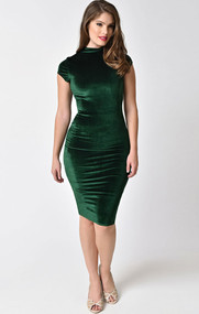 Unique Vintage HOLLY Green Velvet