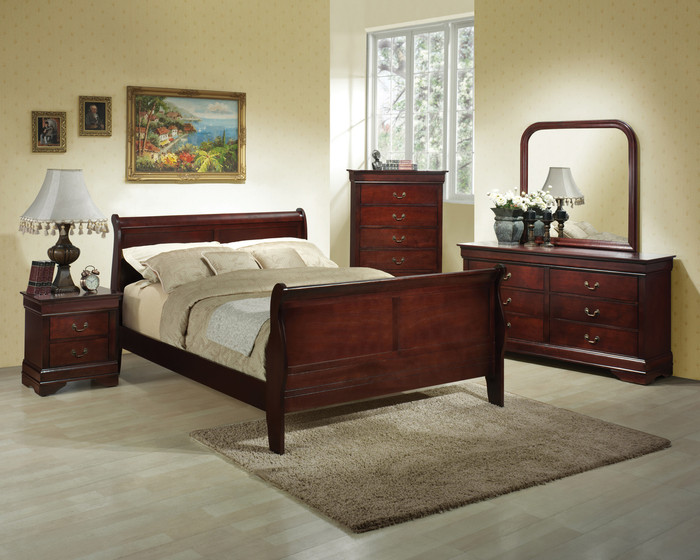 Cherry Louis Sleigh Bedroom