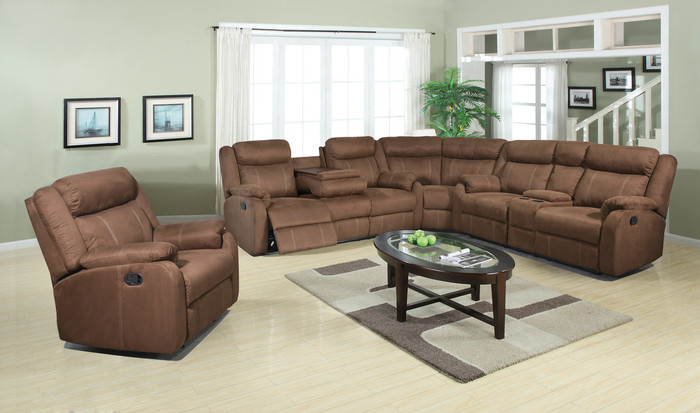 Chocolate Reclining 3 Piece Sectional