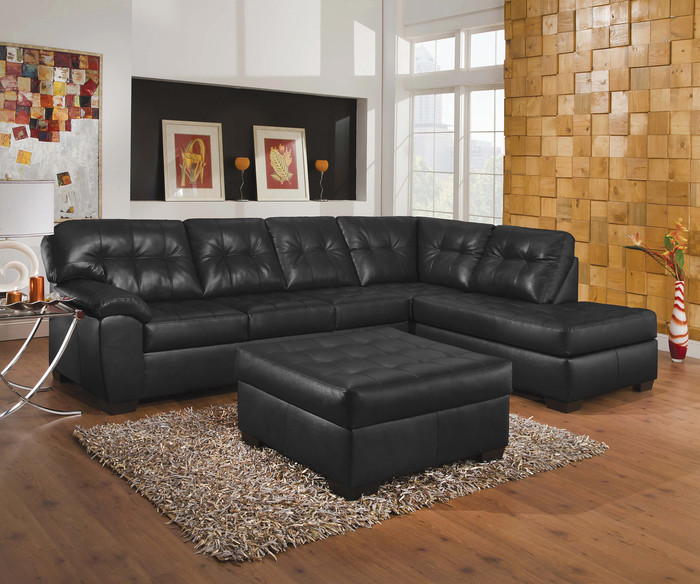 Onyx Black Comfort Gel 2 Piece Sectional