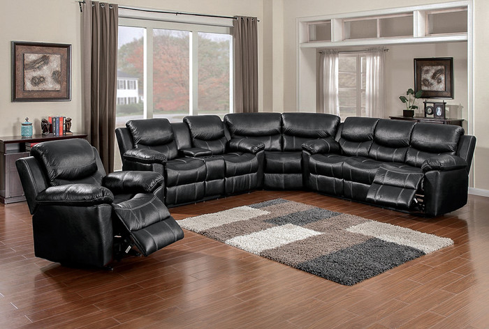 Black Faux Leather Reclining 3 Piece Sectional : 3 piece sectionals - Sectionals, Sofas & Couches