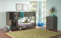 Full-Full Bunk bed with staircase and drawers
