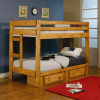 Twin over Twin Bunk Bed with Staircase and Drawers