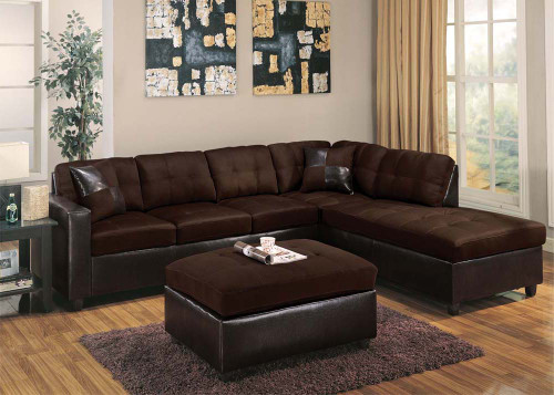 Image 1 : chocolate sectional with ottoman - Sectionals, Sofas & Couches