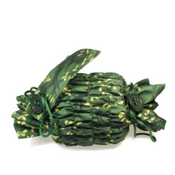 Small 'Crackle' fabric wrap in Holly Green / Gold.   Used here to wrap a multi-wick candle.