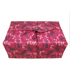Large Crackle fabric wrap in Raspberry.  Shown wrapping example gift.