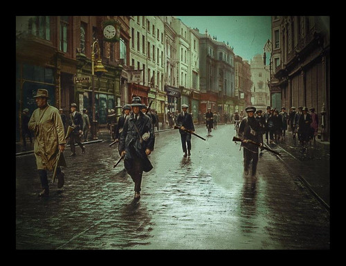 IRA Unit Patrol Grafton Street, Dublin, Ireland - 1922 colour Framed Picture
