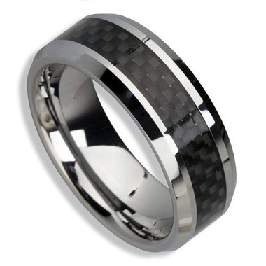 Image of Men's Tungsten Ring (Black Carbon Fiber Inlay 8MM band). Also great as a men's wedding ring band / promise ring.
