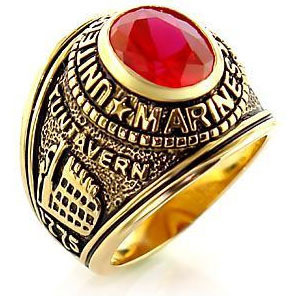 Image of Marines - USMC Military Ring (Gold with Red Stone)