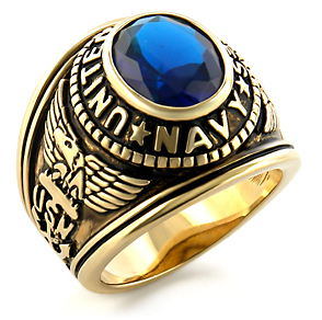 Image of USN - Navy Military Ring (Gold with Blue Stone)