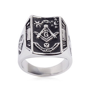 Image of Freemason Ring / Masonic Ring Bent Rectangle Mason Design - Enamel & Steel Band. Masonic rings cheap