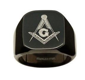 Image of Black Freemason Ring / Masonic Rings for sale - 316L Stainless Steel Masonic Jewelry Band Free Mason Ring.