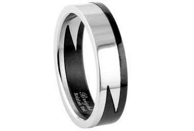 Image of Stainless Steel - Lightning Style Biker Ring - Gothic 316L Steel (2 piece sectional band)