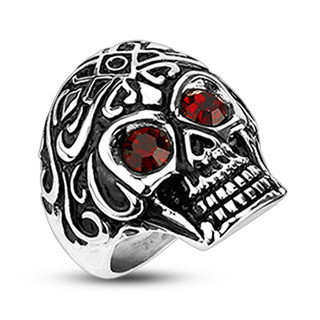 Image of Red Eyed Skull Ring - Gothic Biker Jewelry 316L Stainless Steel Band