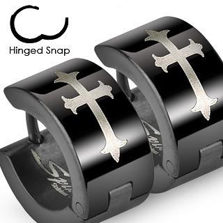 Image of Stainless Steel - Black Gothic Medieval Cross - Wide Hoop Earrings