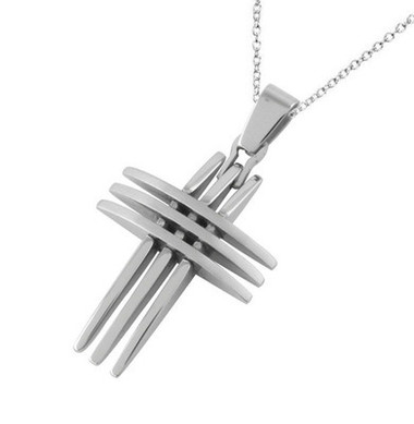 Image of Triple Point Crucifix Pendant - Christian Stainless Cross Pendant w/ chain necklace included!
