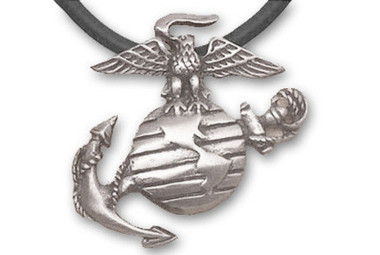 Image of Marines - USMC Military Pewter Necklace with Black PVC Rope
