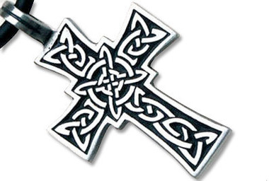Image of Tribal Celtic Cross Pendant - Black Gothic Christian Pewter Pendant with PVC Rope chain included!