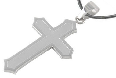 Image of Steel Matte Finish Classic Cross Pendant - Christian Stainless Steel Pendant with PVC Rope chain included!