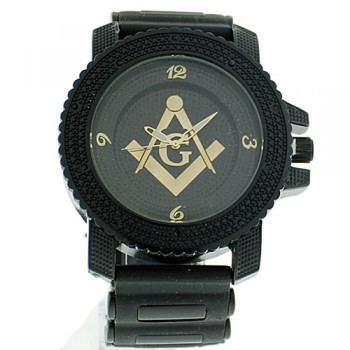 Image of Masonic Watch - Black Silicone Band - Free Masons Numerical Black Face Gold Tone Dial Watch