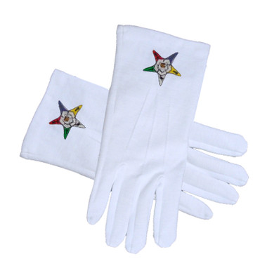 Image of OES Classic Star Face Cotton Gloves - White (One Size Fits Most) - Order of the Eastern Star. Masonic OES Formal Wear Regalia and Accessories.