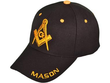Image of Black Masonic Baseball Cap - with Golden Masonic Order Symbol, brim Mason text and adjustable strap on back of hat. Masonic Clothing, Apparel and Merchandise.