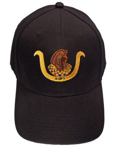 Image of Ancient Eqyptian D.O.I Masonic Baseball Cap - Black Hat with Standard D.O.I Freemason Symbol - One Size Fits Most Adults - Daughters...