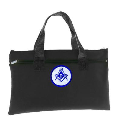 Image of Black Masonic Tote Bag for Freemasons - Blue and White Round Classic Logo