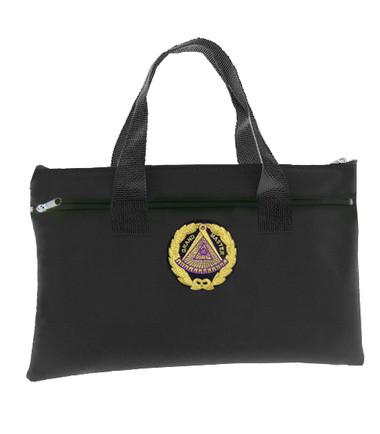 Image of Black Grand Master Masonic Tote Bag for Freemasons - Blue and White Round Classic Logo