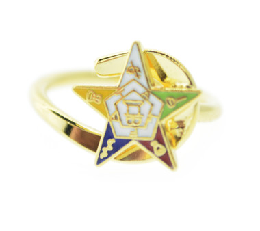 Image of OES Gold-Plated Adjustable Ring with Order of the Eastern Star Symbolism Jewelry - One Size fits most.