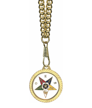 Image of OES Round Gold Color Rimmed Classic Style Pendant with Order of the Eastern Star Symbolism - Includes Chain Necklace