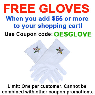 Image of FREE with $55 or more! Coupon Code: OESGLOVE - Get (1) Pair of OES Classic Star Face Cotton Gloves - White (One Size Fits Most) - Order of the Eastern Star