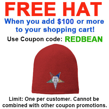 Image of FREE hat with over $100 - Use coupon code REDBEAN - Order of the Eastern Star - Red Beanie Cap with Colorful Standard OES Symbol - Hat One Size Fits Most Adults