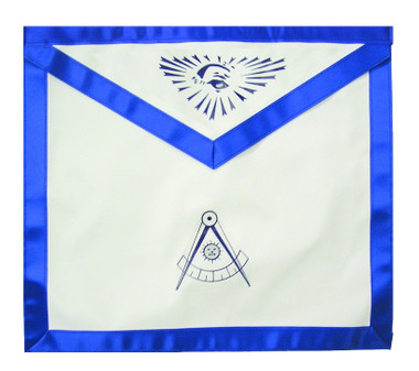 Past Master Masonic Blue Lodge White & Blue Duck Cloth Apron For Freemasons - Past Master Compass & All seeing eye. Masonic Lodge Regalia and Apparel Merchandise Past_Master_Draw_Compass_White_Blue_SeeEye_Apron