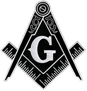 Image of Black and white Masonic Cut Out Shaped Iron on Patch For Freemasons