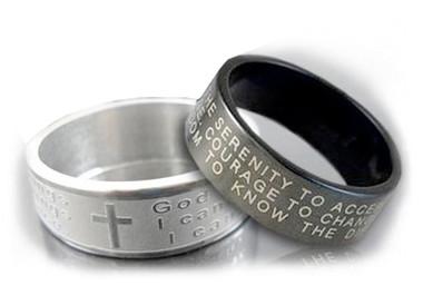 Image of Serenity Prayer Rings - God grant me the serenity - Steel Rings (Black or Silver Color Steel)