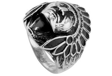 Image of Stainless Steel - Chief Indian Biker Ring - Steel 316L Gothic Motorcycle Biker Band