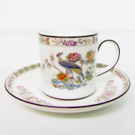 Wedgwood Kutani Crane Coffee Can Demitasse & Saucer