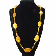 Chunky Butterscotch Marble Natural Amber Nugget 34″ (86cm) Necklace 73g